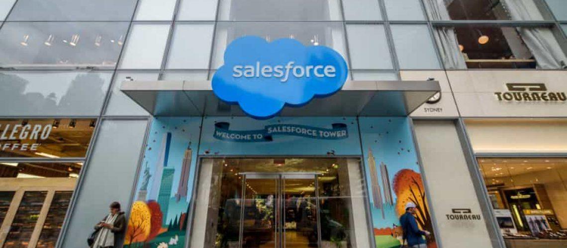 MANHATTAN, NEW YORK, UNITED STATES - 2019/10/11: Salesforce Headquarters in New York City, also known as Salesforce Tower. (Photo by Erik McGregor/LightRocket via Getty Images)
