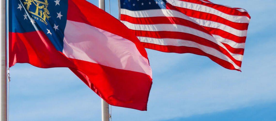 Bandeiras dos EUA e da Georgia - E Eu Com Isso Levante