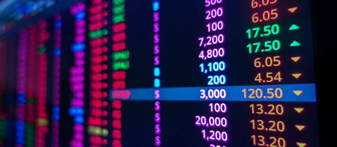 Stock,Market,Graph,On,Screen.,Ticker,On,Monitor,Screen.,Investing,